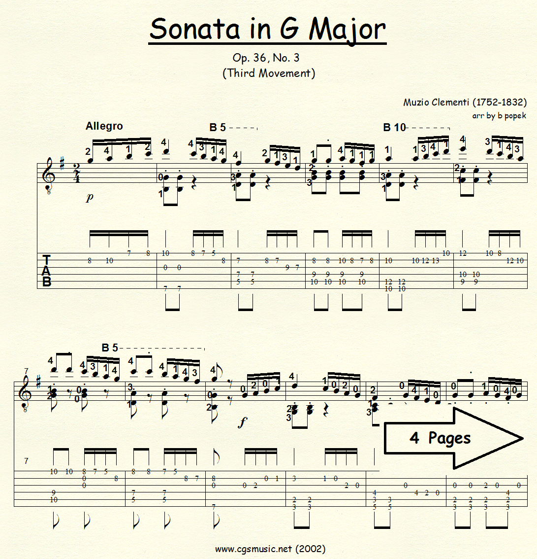 Sonata in G Major (Clementi) for Classical Guitar in Tablature