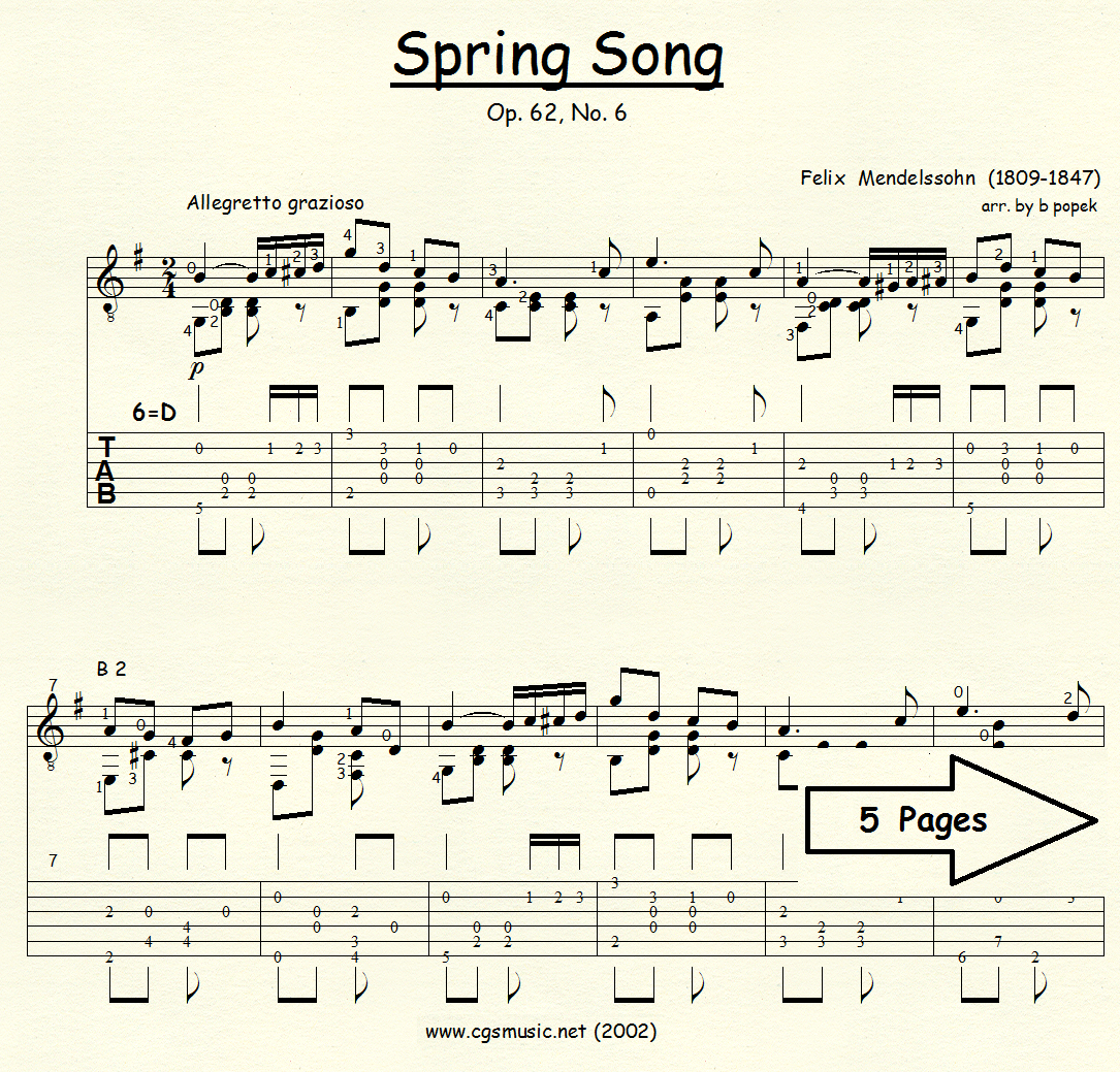 Spring Song (Mendelssohn) for Classical Guitar in Tablature