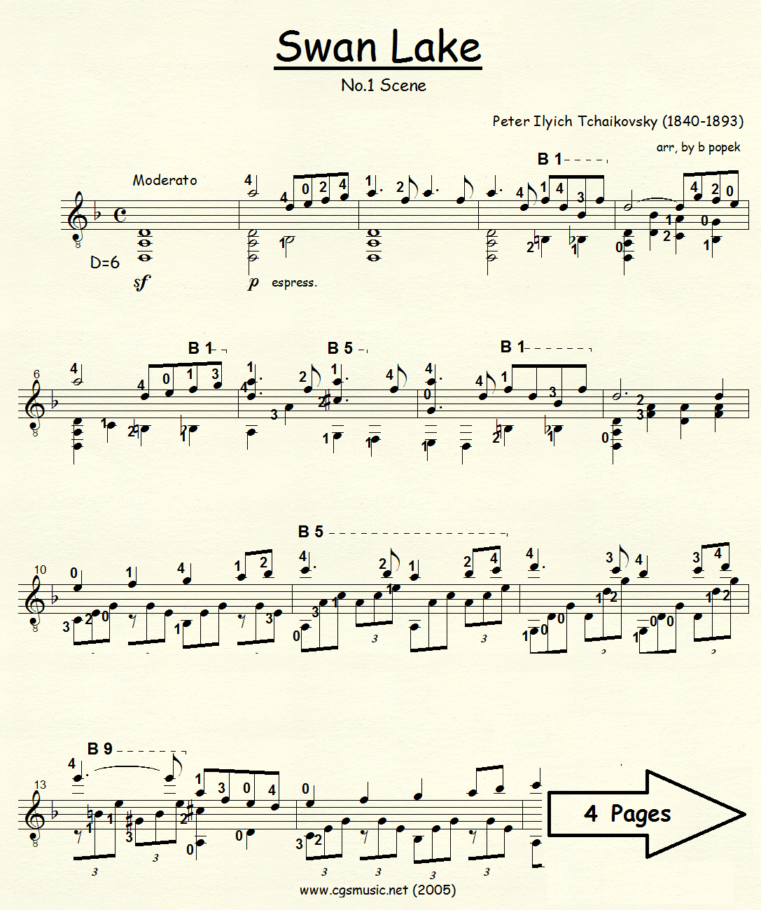 Swan Lake No. 1 (Tchaikovsky) for Classical Guitar in Standard Notation