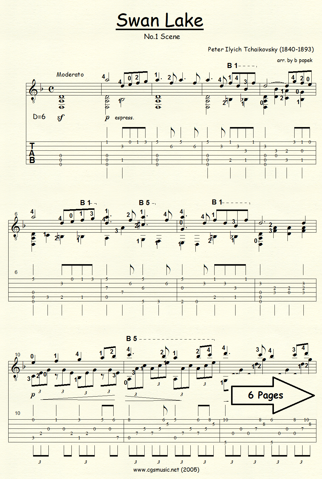 Swan Lake No. 1 (Tchaikovsky) for Classical Guitar in Tablature