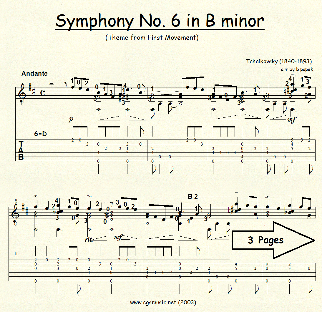Symphony #6 in B minor (Tchaikovsky) for Classical Guitar in Tablature