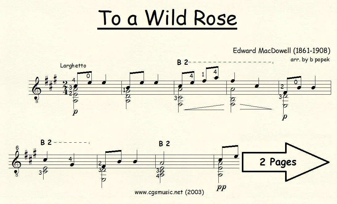 To a Wild Rose (MacDowell) for Classical Guitar in Standard Notation