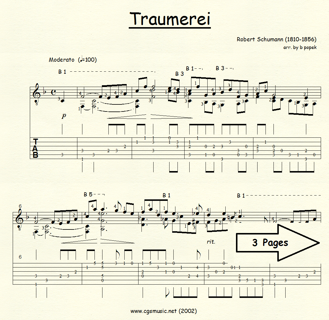 Traumerei (Schumann) for Classical Guitar in Tablature