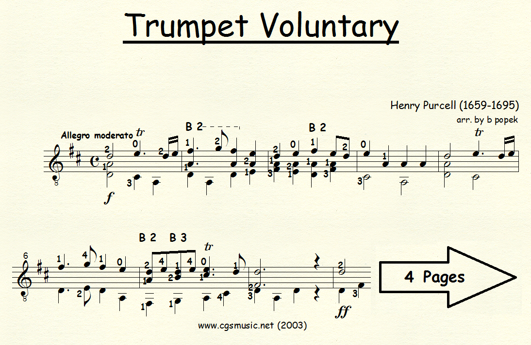 Trumpet Voluntary (Purcell) for Classical Guitar in Standard Notation