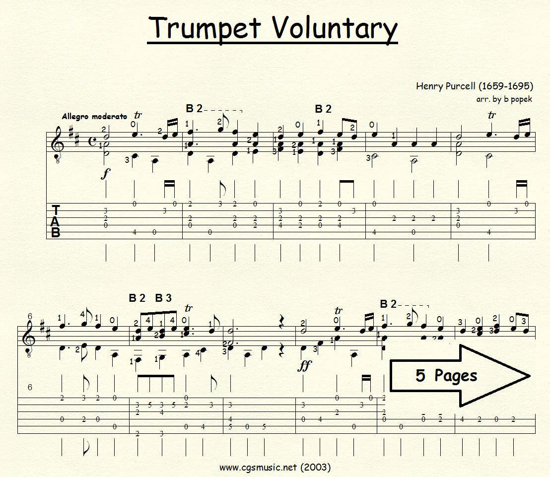 Trumpet Voluntary (Purcell) for Classical Guitar in Tablature