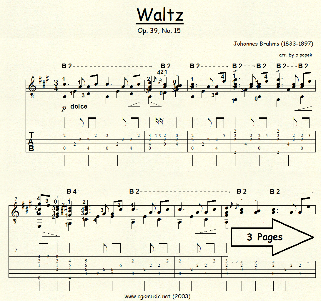 Waltz Op 39. #15 (Brahms) for Classical Guitar in Tablature