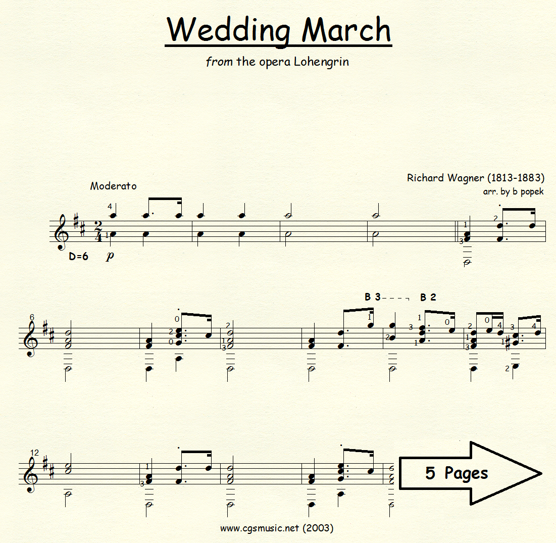 Wedding March (Wagner) from the opera Lohengrin for Classical Guitar in Standard Notation