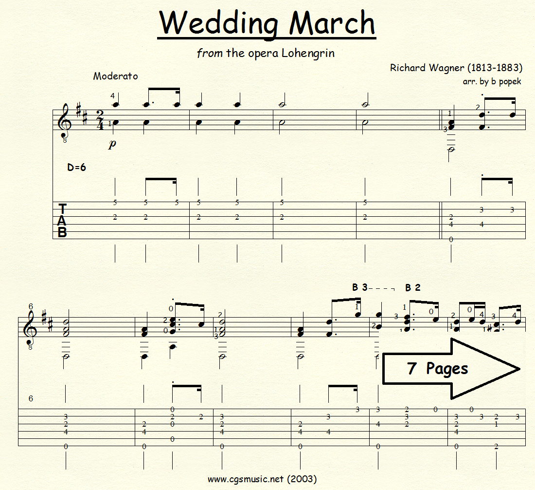 Wedding March (Wagner) from the opera Lohengrin for Classical Guitar in Tablature