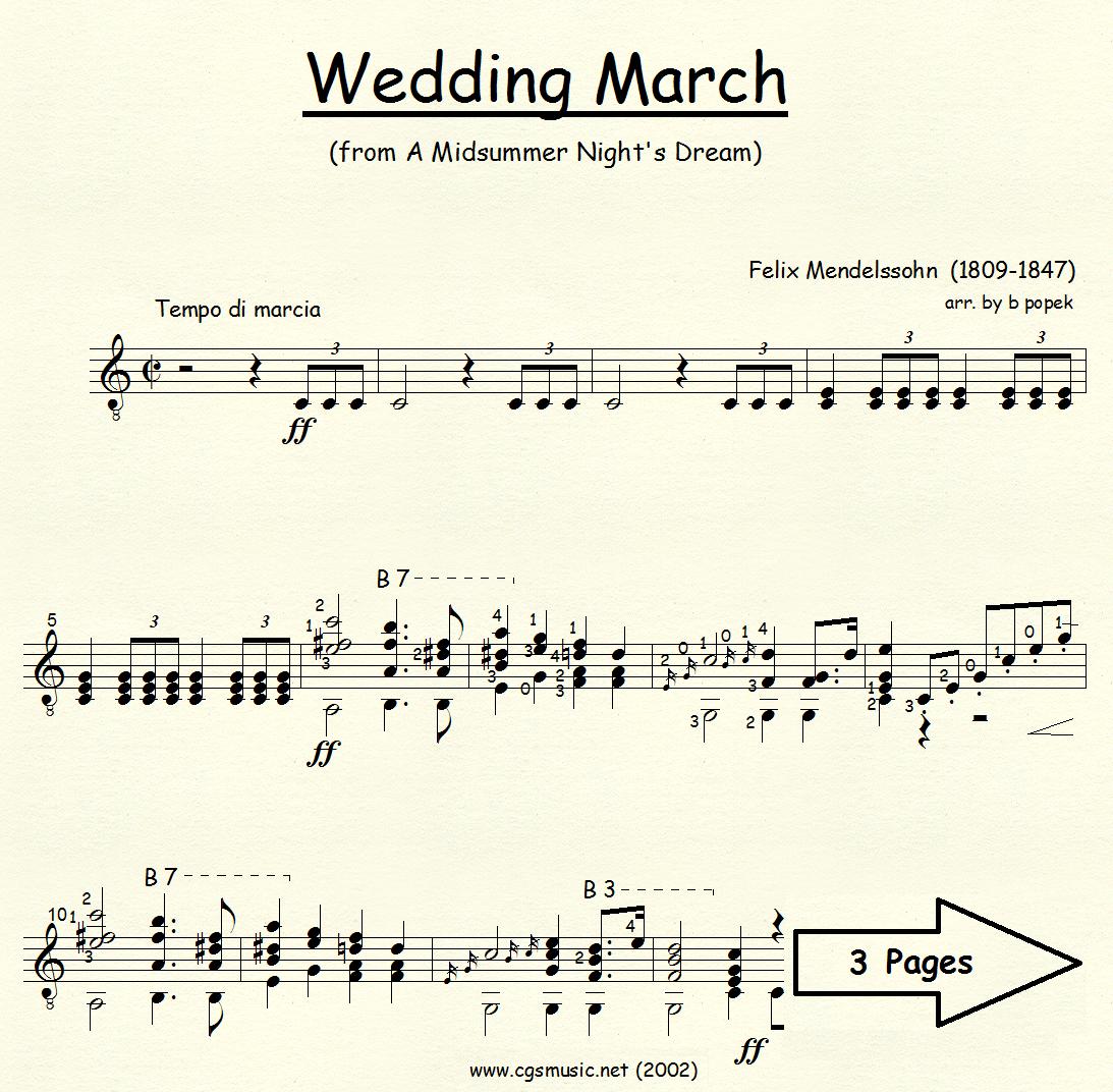 Wedding March from A Midsummer Night's Dream (Mendelssohn) for Classical Guitar in Standard Notation