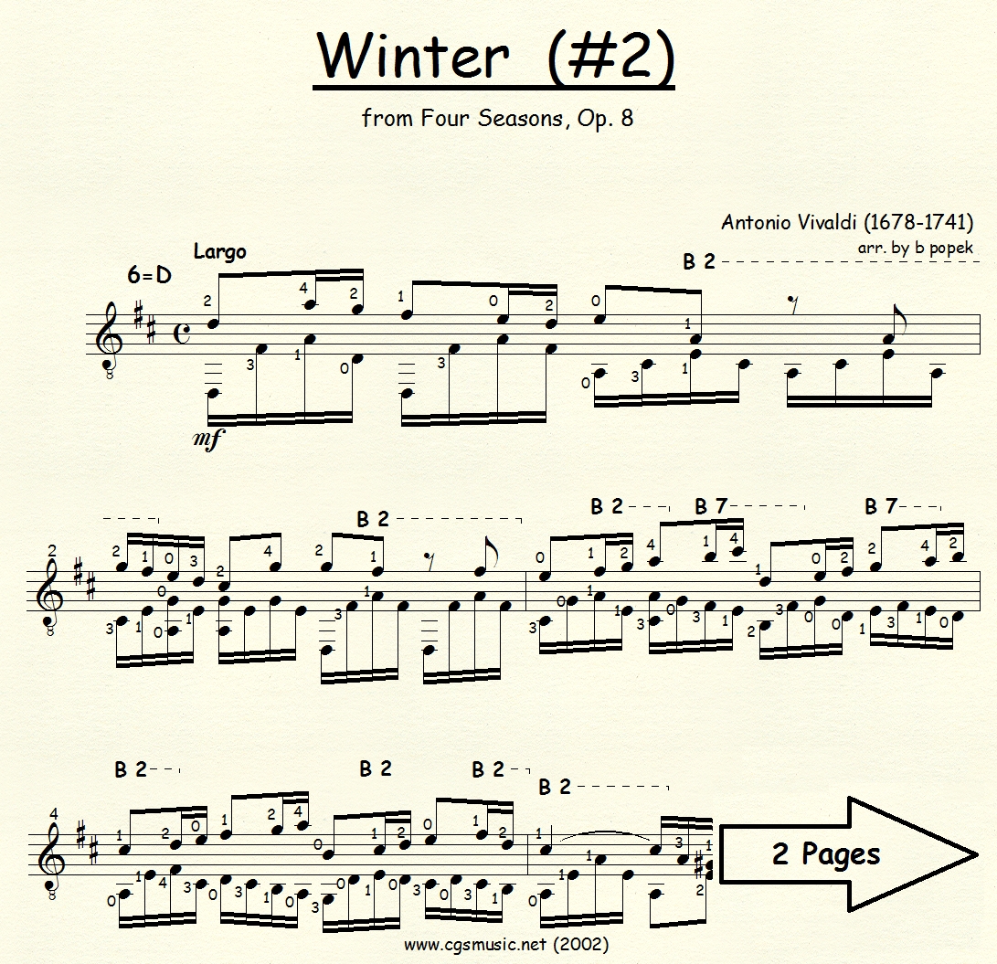 Winter #2 (Vivaldi) from Four Seasons for Classical Guitar in Standard Notation