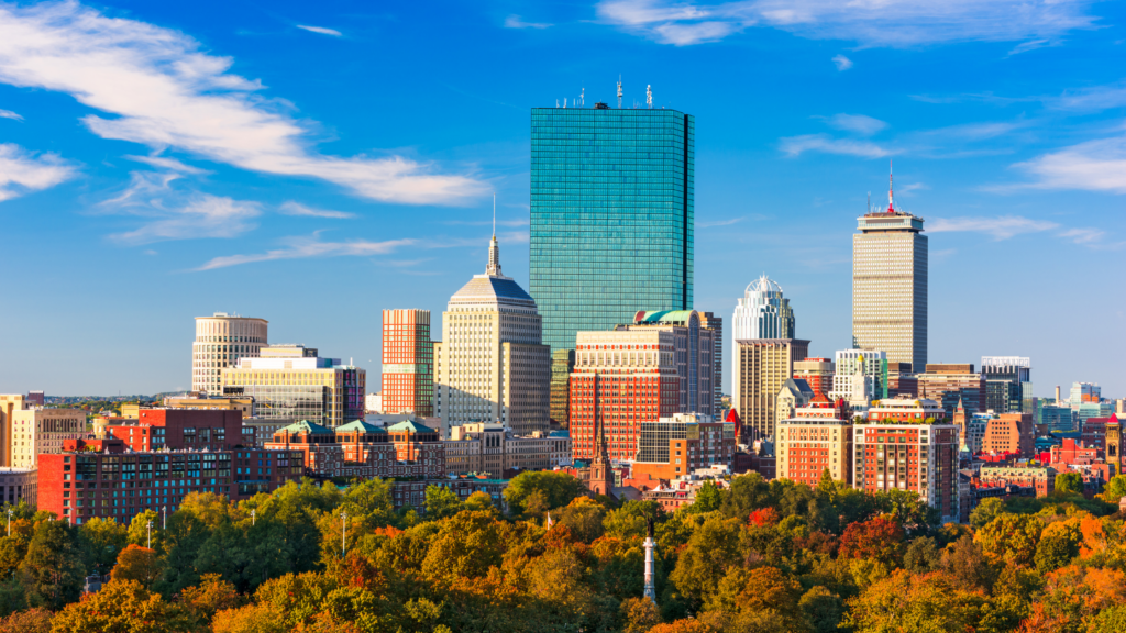 Vue sur le centre ville de Boston