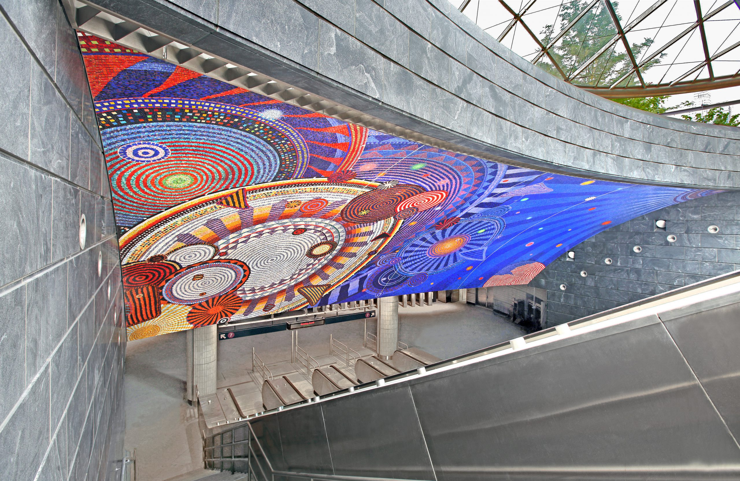 7 West Subway Entrance Mosaic Mural by Xenobia Bailey: Photo Credit: Rob Wilson, 2015