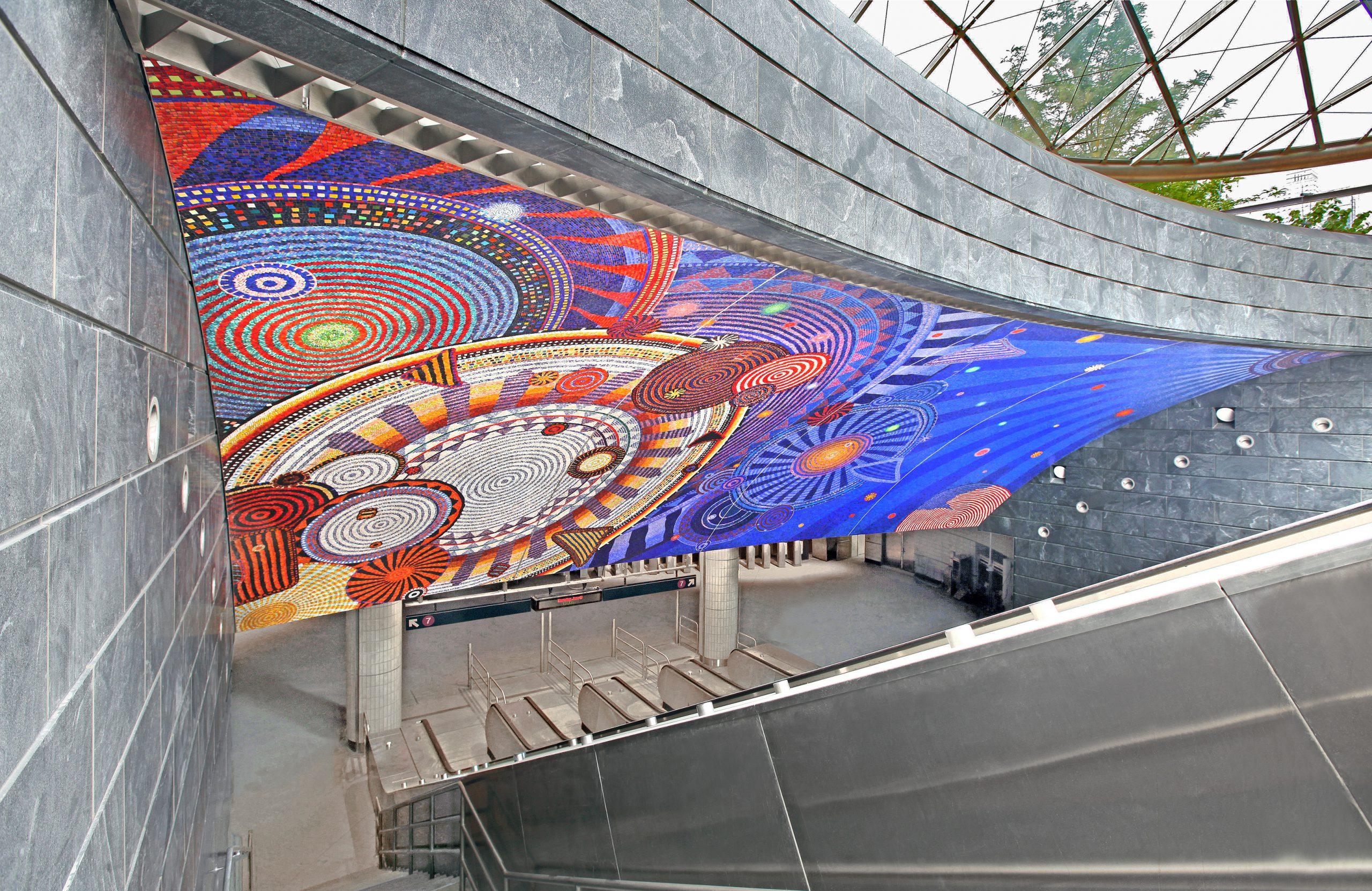 7 West Subway Entrance Mosaic Mural by Xenobia Bailey: Photo Credit: Rob Wilson, 2015