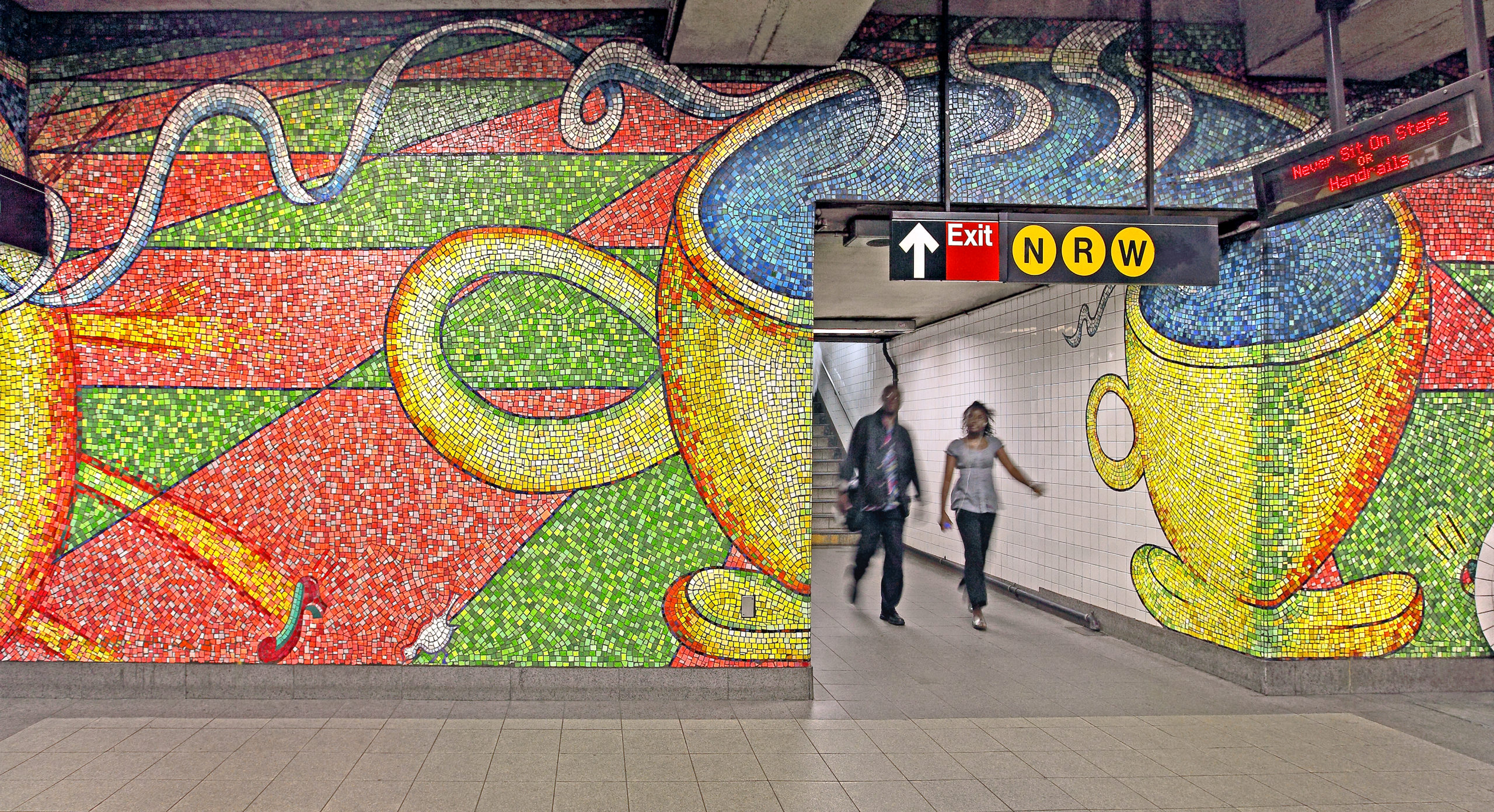 """Glass Mosaic Mural by Elizabeth Murray at 59th St Subway Station. Title: """"Blooming"""" 1996"""