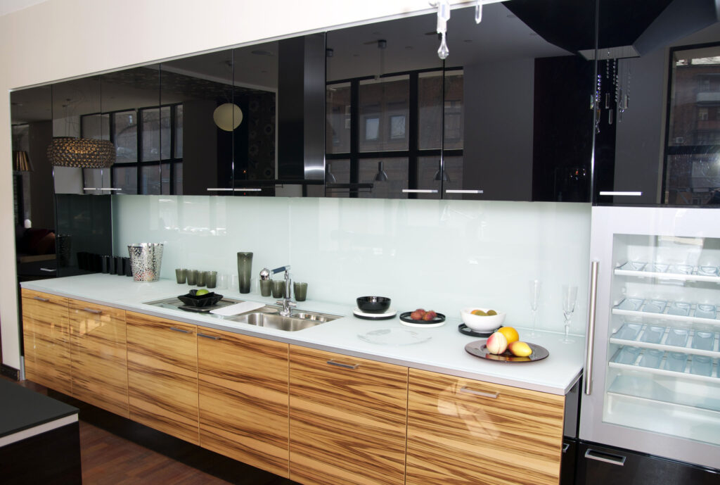 Backpainted Glass Backsplash in Kitchen by Markham Glass & Mirror