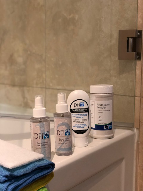 DFI Product packaging shown on Bathroom Counter