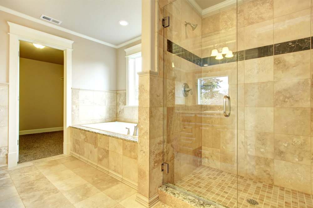 Markham Glass and Mirror frameless all glass shower enclosure