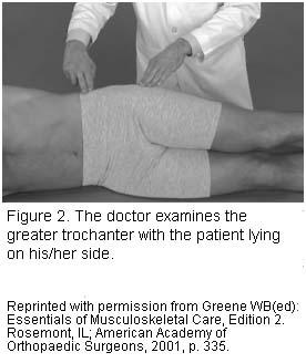 Dr examines hip