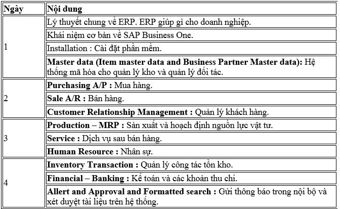khoa hoc phan giai phap phan mem erp sap business one B1