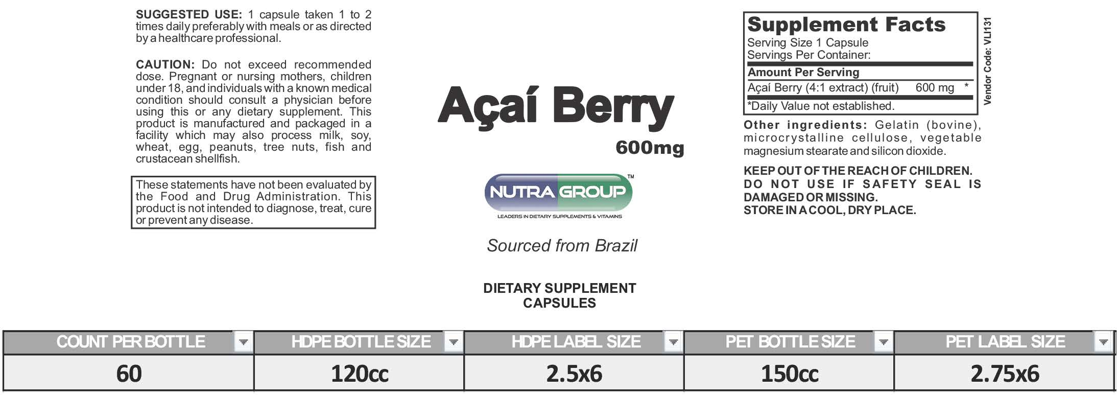 private label acai berry supplement