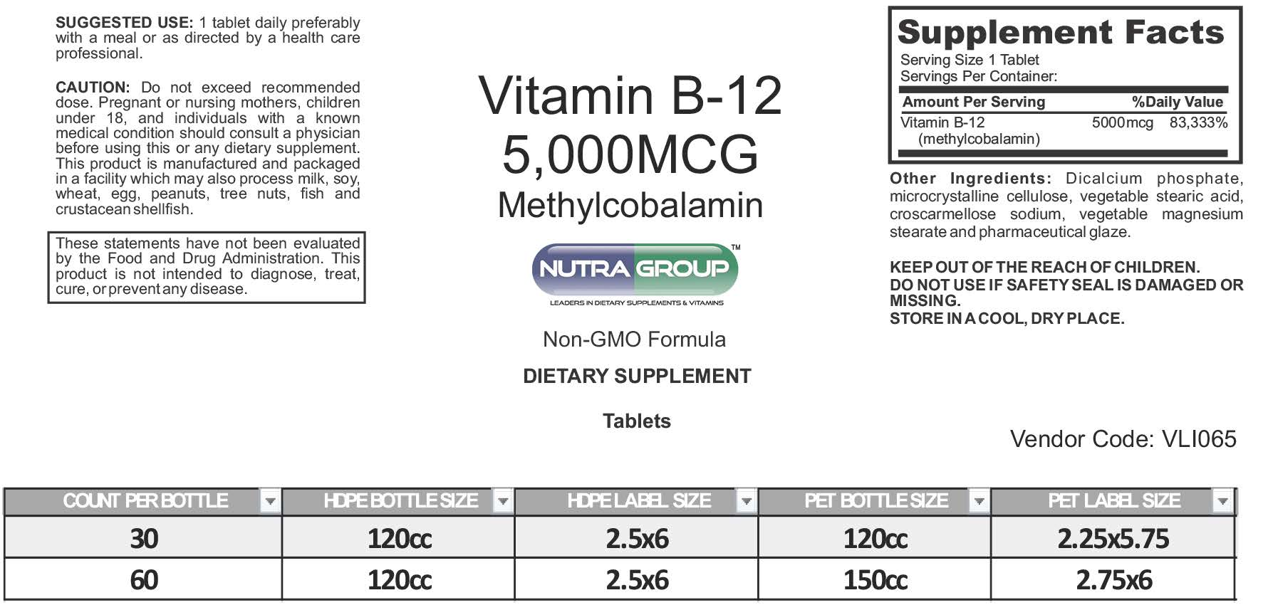 Private label vitamin b12 supplement