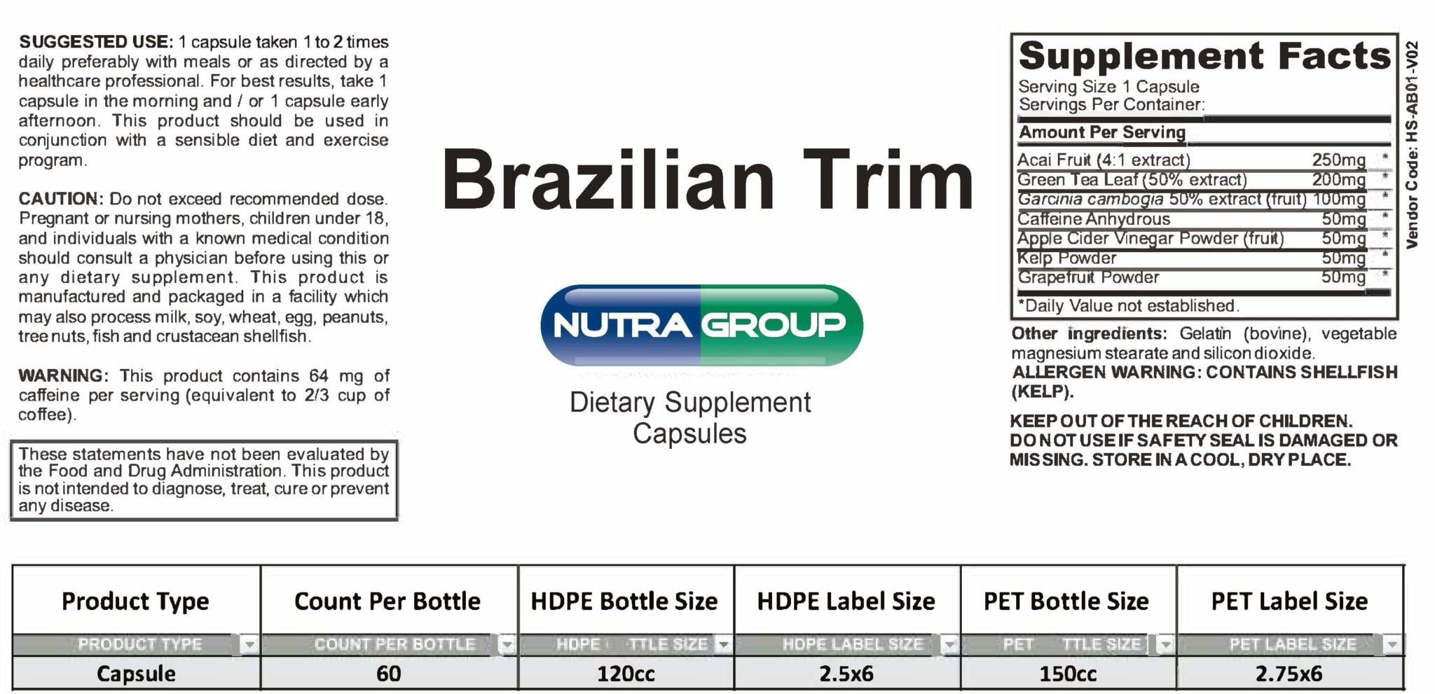 Private Label Brazilian Trim Supplement
