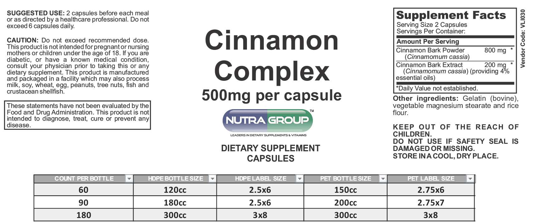 Private label Cinnamon supplements