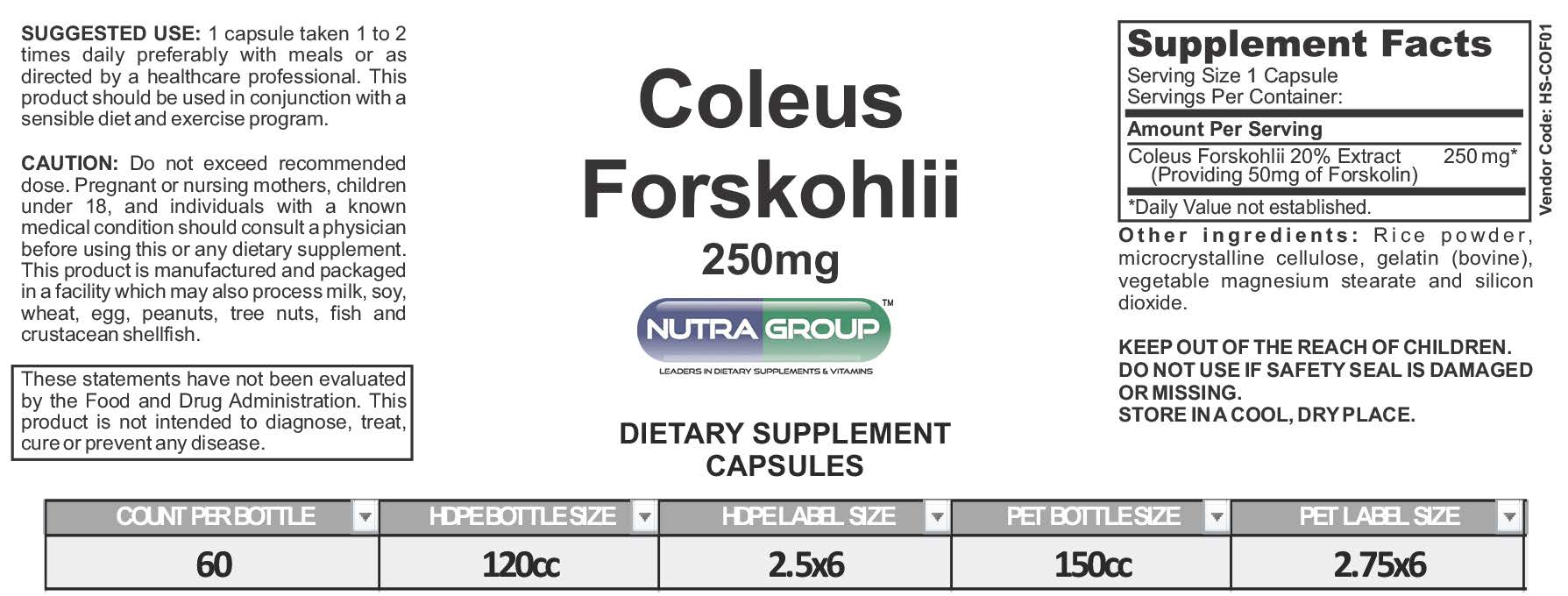 Private Label Coleus Forskohlii supplement