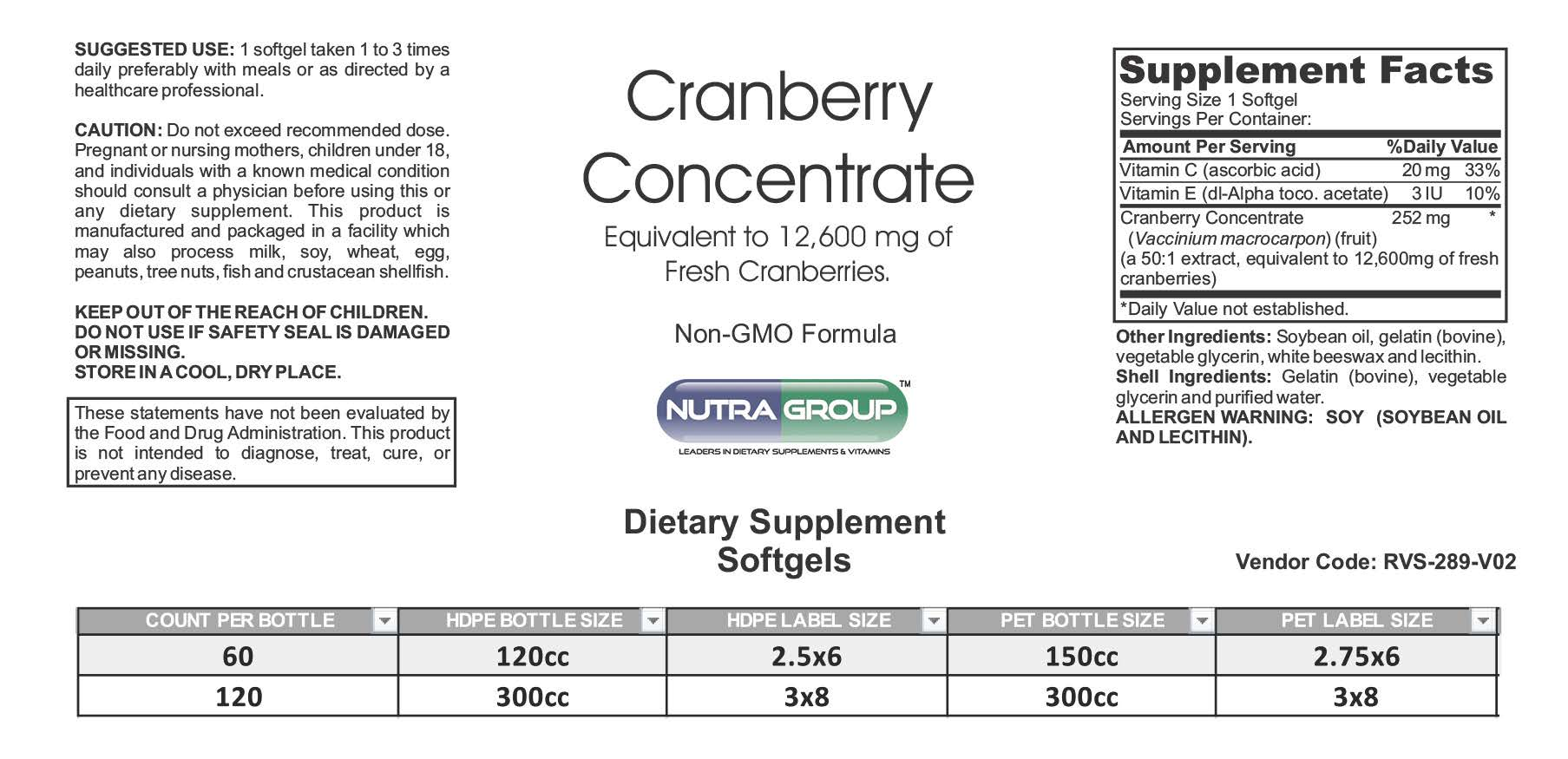 private label cranberry supplements