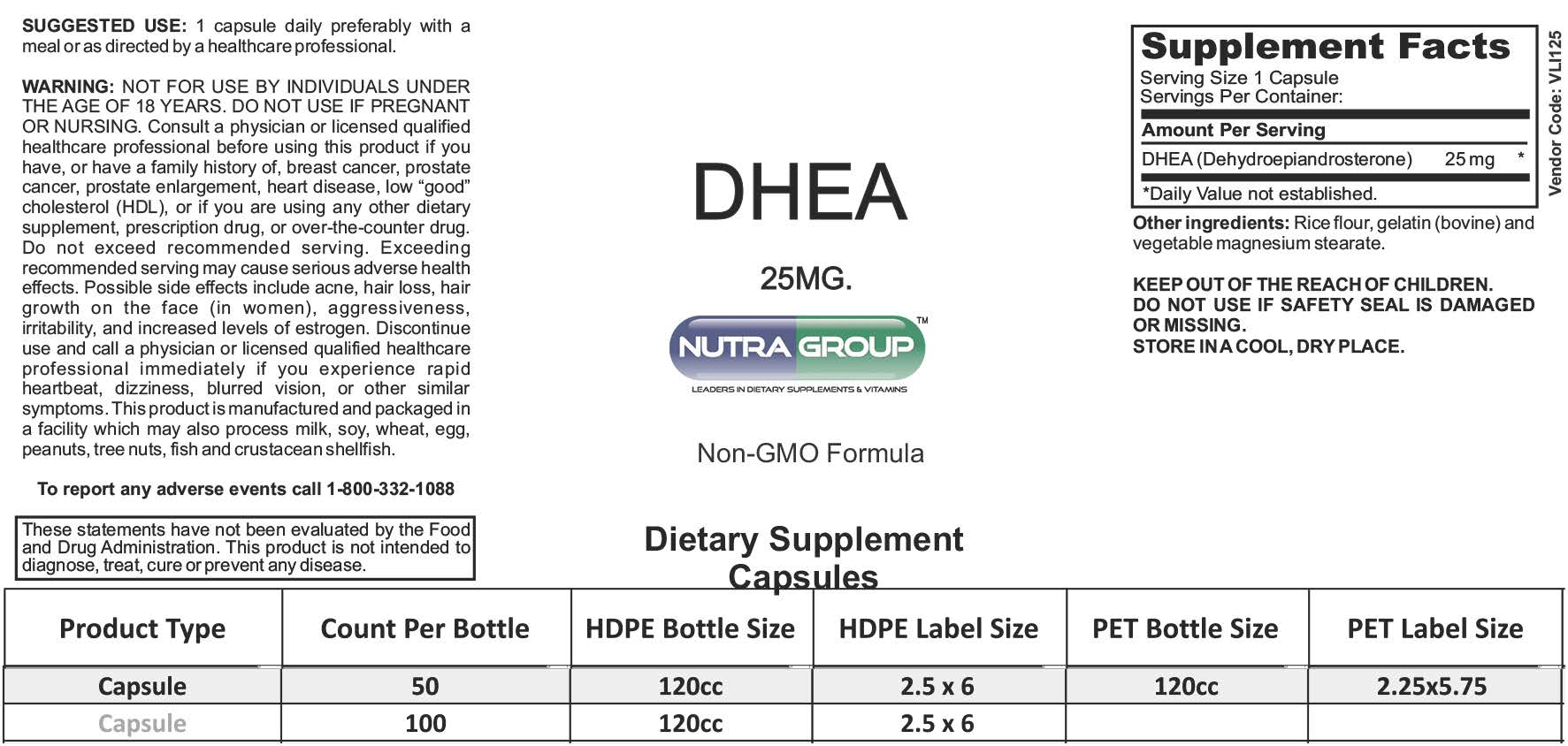 Private label DHEA supplement