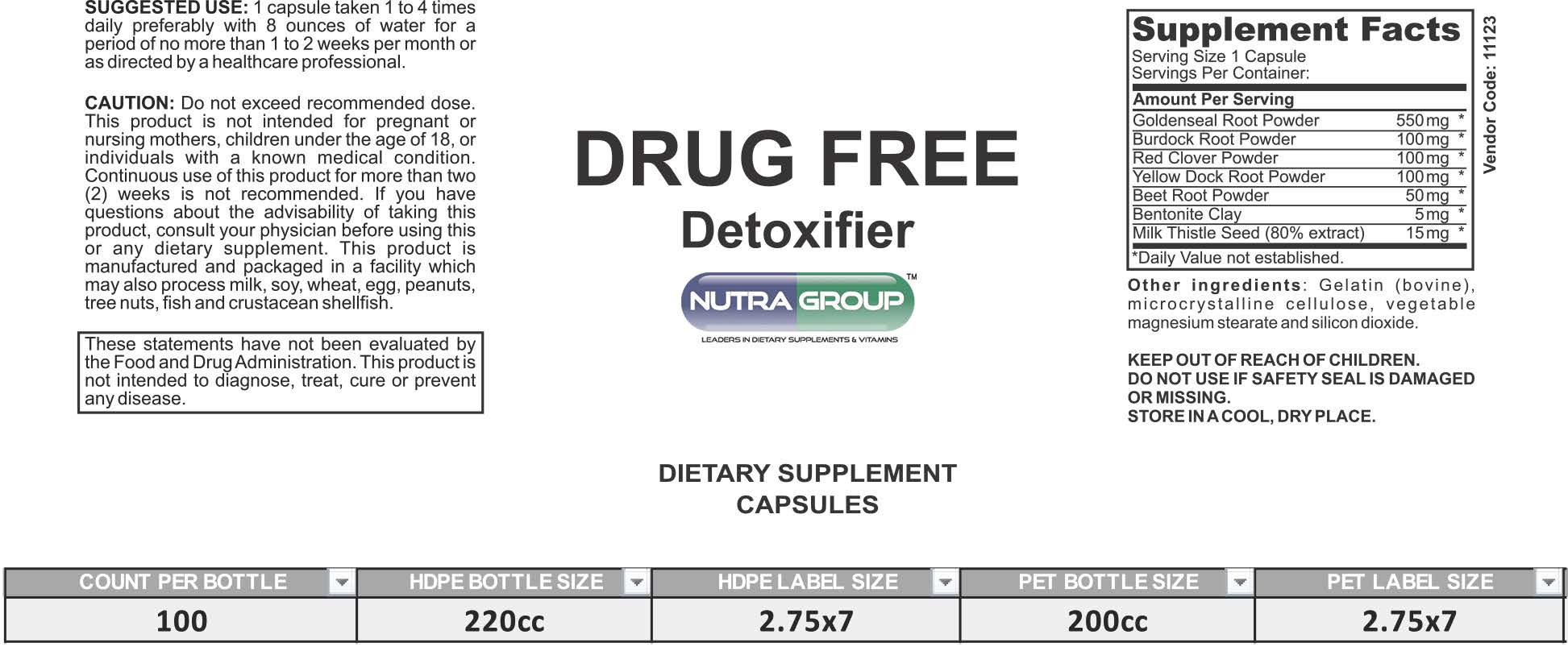 Private Label Drug Free Detoxifier Supplement