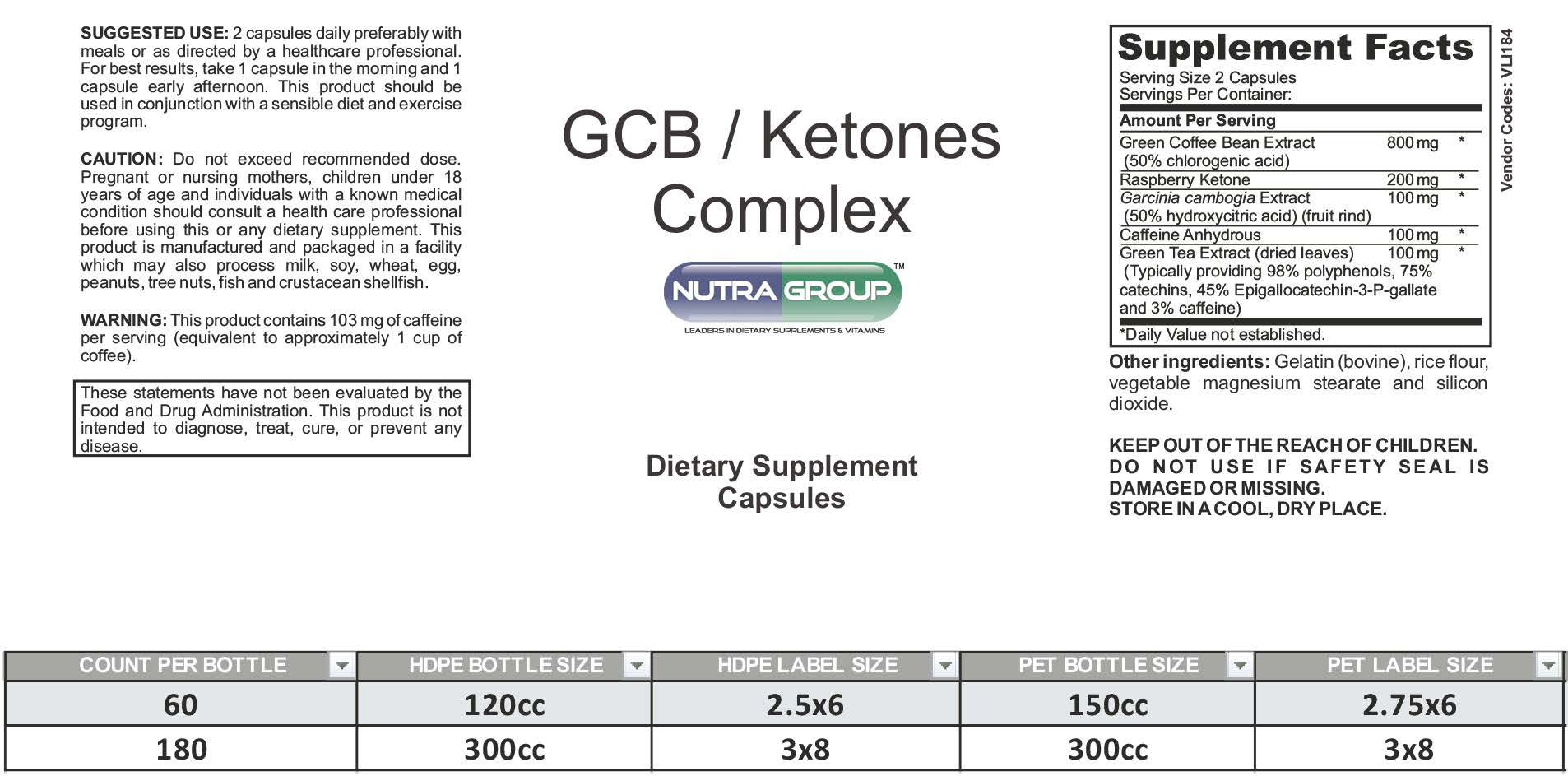 Private Label Green Coffee Ketones Supplement