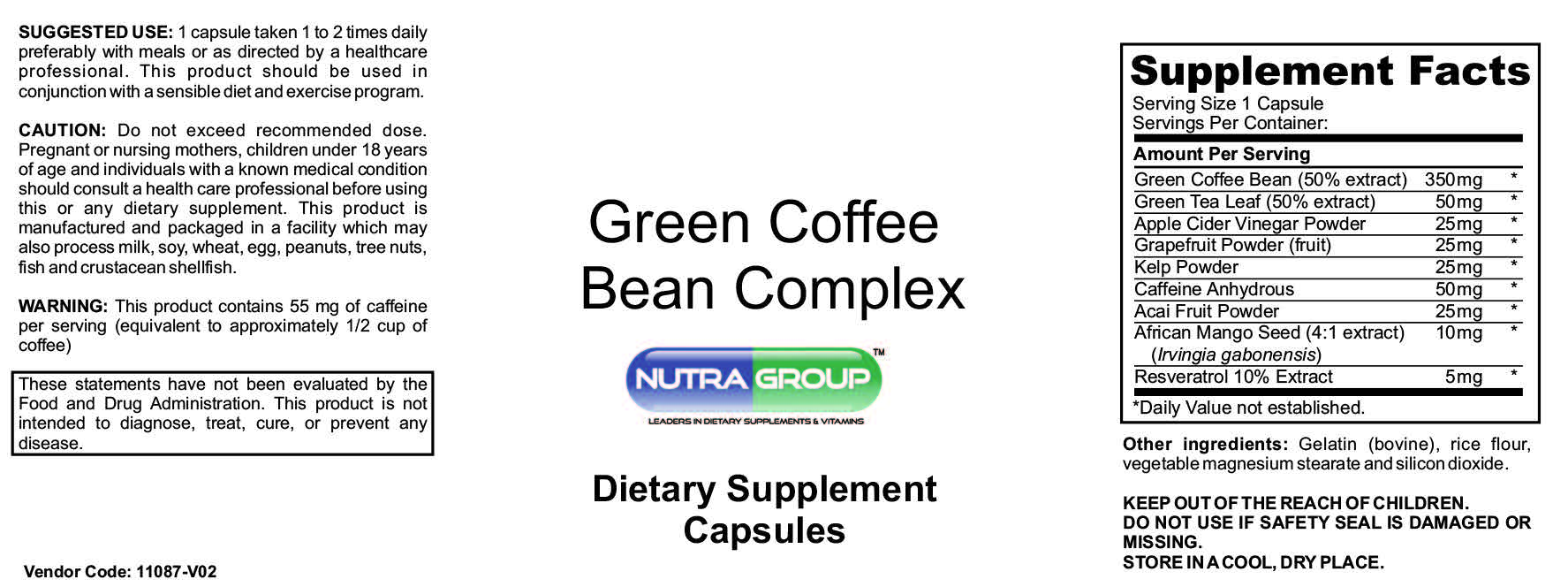 private label green coffee bean supplement