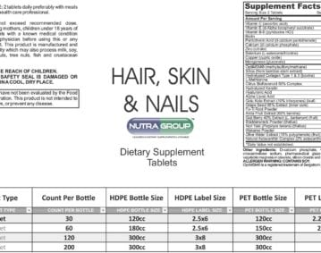 Private Label Hair skin nails vitamins