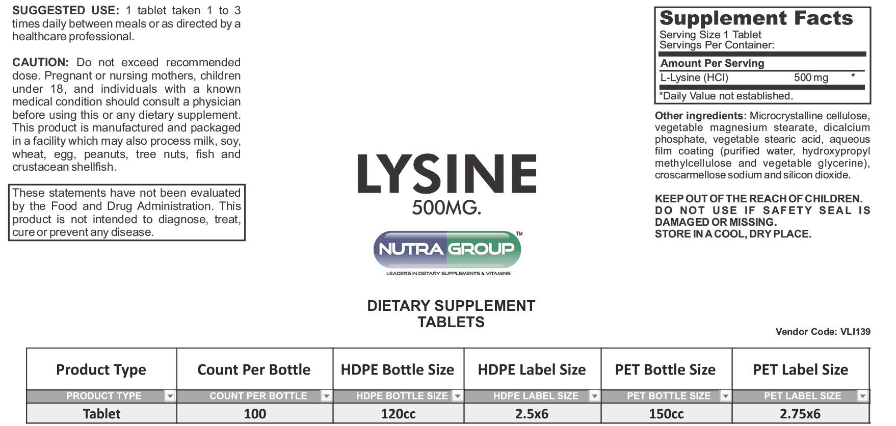 Private label Lysine supplements