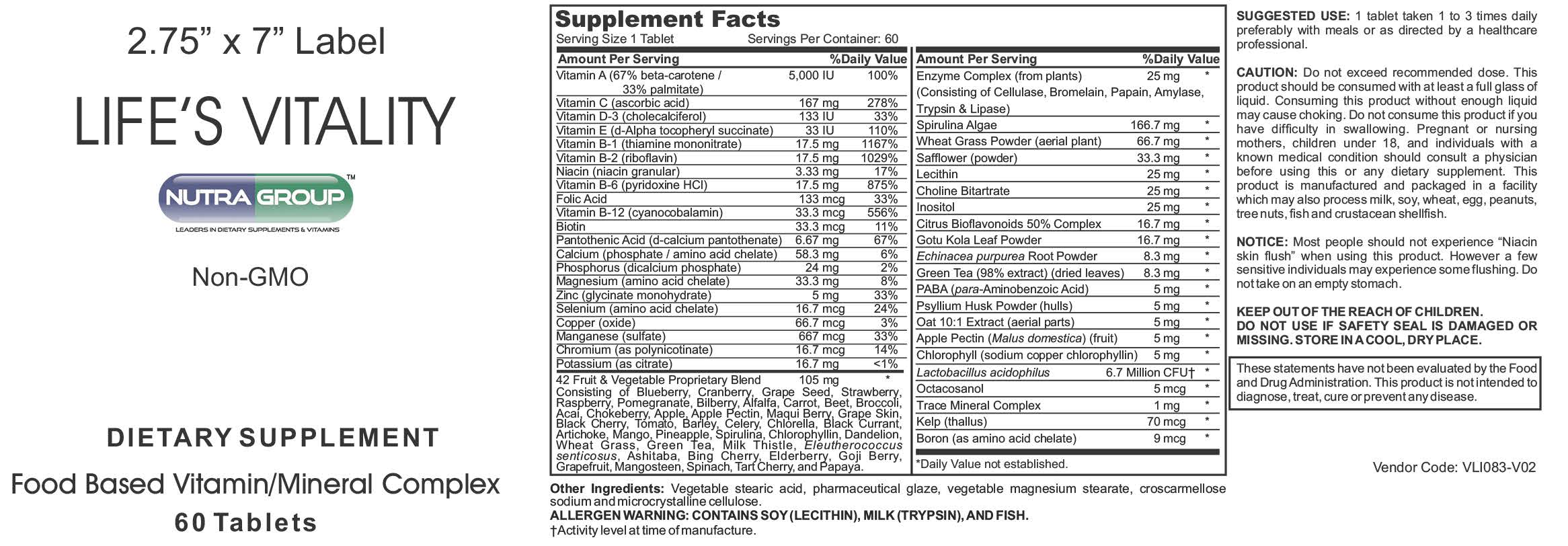 Private label Vitality supplements