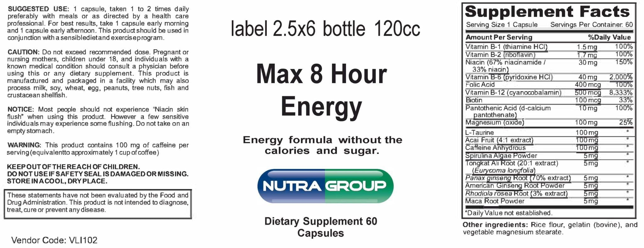 Private label Max 8 Hour Energy supplement