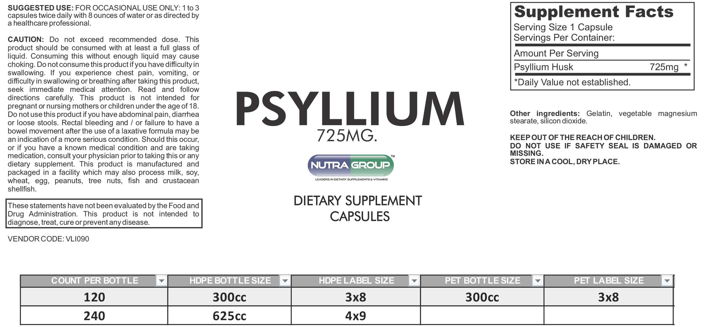 Private label Psyllium Husk capsules