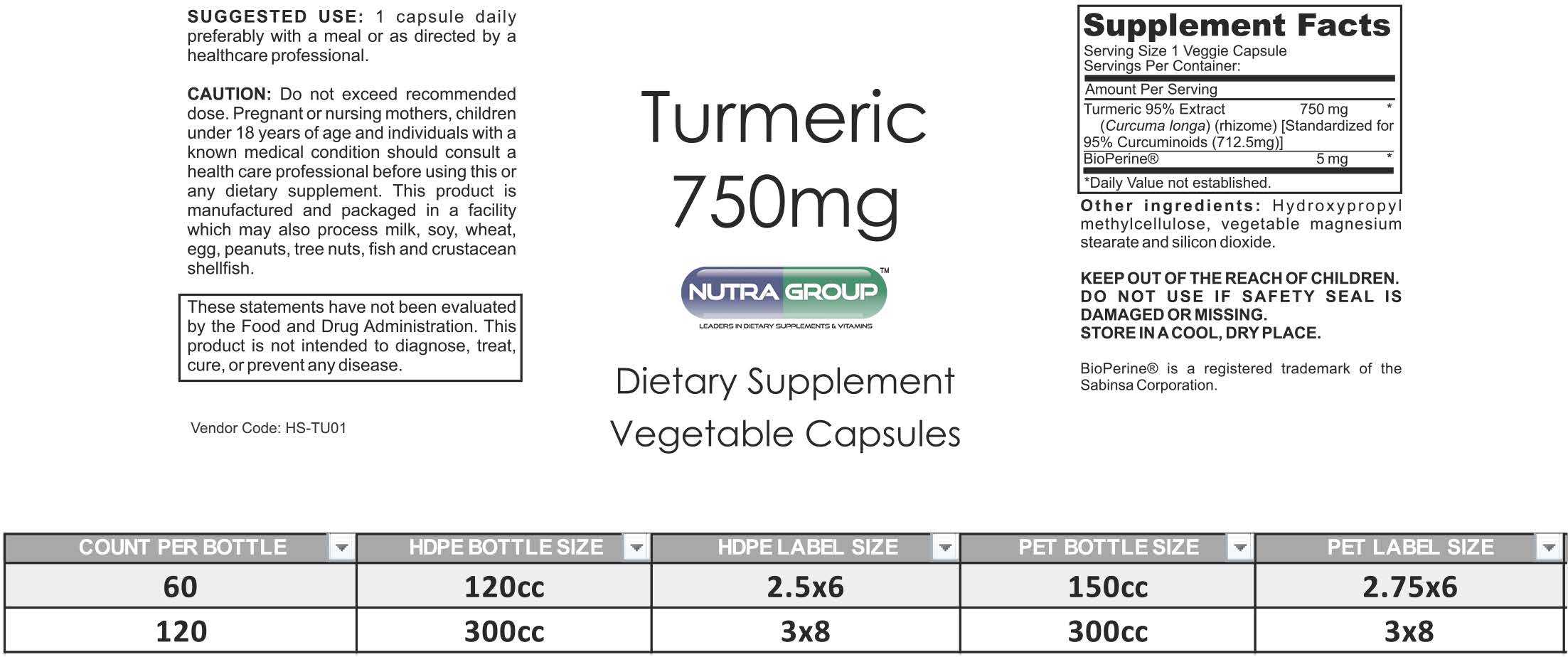 Private Label Turmeric supplement