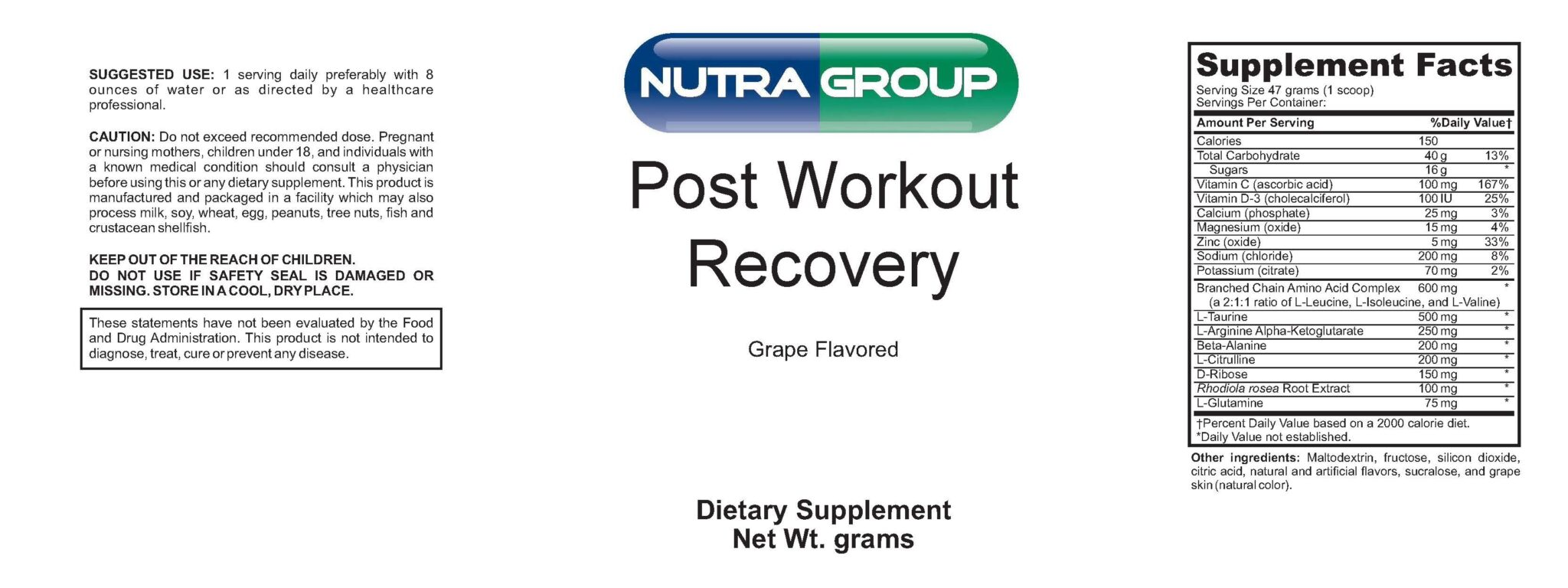 Private Label Post Workout Recovery Formula