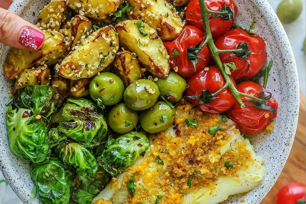 paleo lemon cod with brussels chips and hemp-crusted potatoes