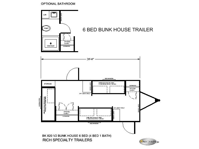 6 MAN BUNK BED TRAILER HOUSE