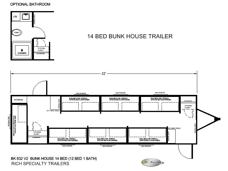 14 MAN BUNK BED TRAILER HOUSE