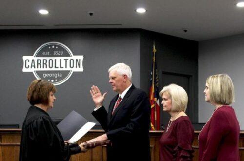 Brett Ledbetter is sworn in