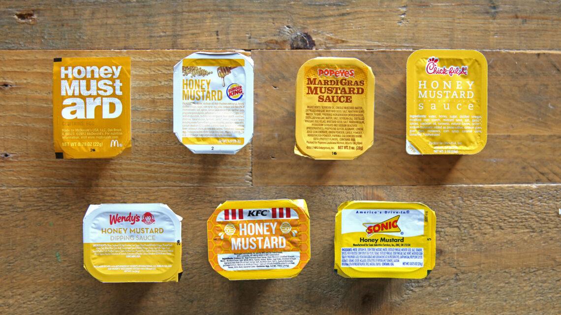 Honey Mustard dipping sauces of various fast food restaurants