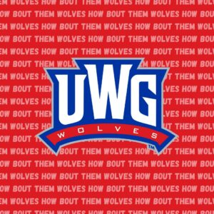 A red banner that says 'How Bout Them Wolves' multiple times behind the UWG logo