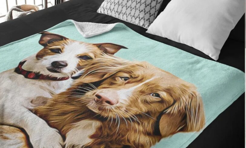 personalized custom pet photos on a blanket