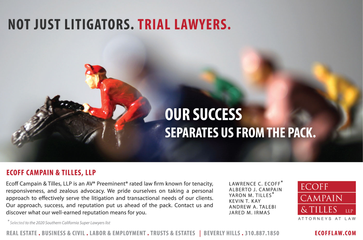 2020 Super Lawyers Ad for Ecoff Campain & Tilles, LLP