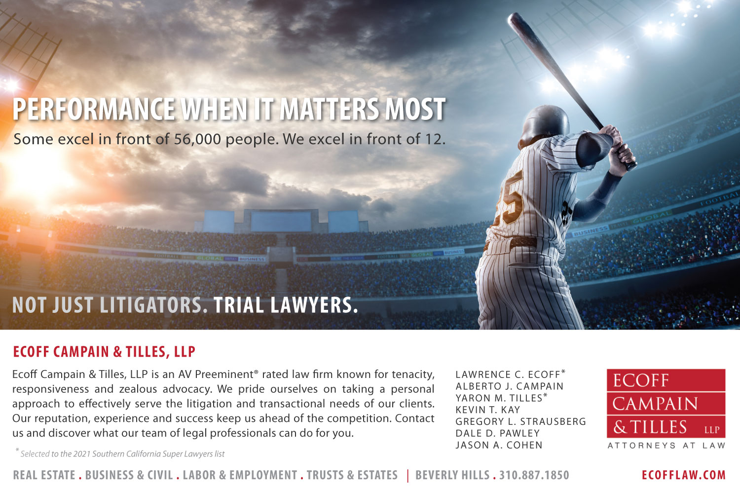 2021 Super Lawyers Ad for Ecoff Campain & Tilles, LLP