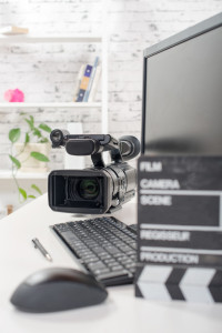 editing video computer and movie camera